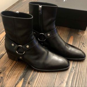 Saint Laurent Wyatt Black Harness Boots Hedi